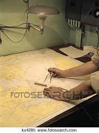 1960s Man Hands Nautical Navigation Tools Compass Map Chart