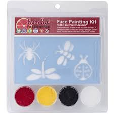 red face painting stencil kit bugs