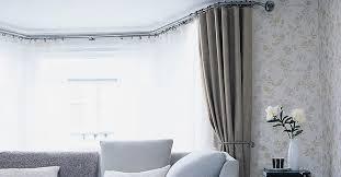 bay window curtain rod in ingenious mounting