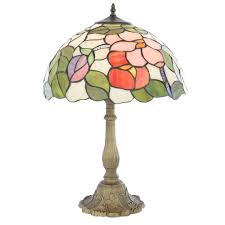 tiffany fl 16 inch table lamp with multi coloured shade with antique brass base