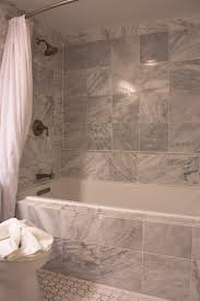 tub combo with red bath enticing gray marble subway tile wall paneling bath with white rectangular bathtub and burnished bronze wall