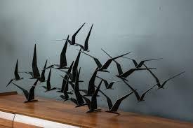 mid century metal bird wall art on metal sculpture wall art birds with vintage mid century birds in flight metal wall sculpture signed c