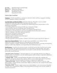 Maintenance Manager Resume Essayscope Com