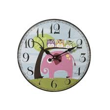 cute wall clock animated 3 owls with