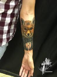 Stylish Fox With Eyeglasses Tattoo On Forearm By Vladislav Shetikov