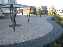 Exposed aggregate - traditional color inset with black #aggregate band. # concrete