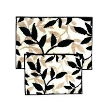 taupe bathroom rugs 2 piece black and taupe bathroom mat rug set fl leaf design