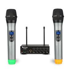 Fifine UHF Dual Channel <b>Wireless Handheld Microphone</b>, Easy to ...