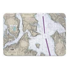 Breakwater Bay Hash Puget Sound Seattle To Bremerton Wa Nautical Chart Memory Foam Bath Rug