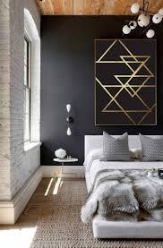 Schlafzimmer Schwarze Wand Dekoration Bilder Großformat Gold