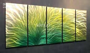 yellow and blue wall art metal oil sculpture painting green black grey gray for bedroom w