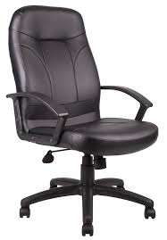 high back massaging black leather executive office chair with silver base. leather executive office chair in high back and nylon base massaging black with silver f