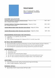 Resume Format For M Sc Computer Science Freshers Free Download