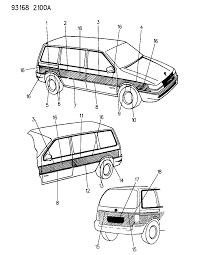 1993 chrysler town country mouldings and overlay woodgrain diagram 00000bxd