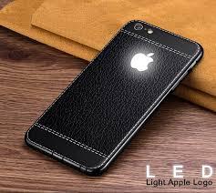 vaku apple iphone 6 6s leather stitched led light illuminated apple logo 3d designer