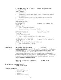 Resume For Auto Mechanic Impressive Sample Resume For Automotive Technician Resume Automotive Mechanic