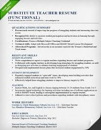 Substitute Teacher Resume Inspiration Substitute Teacher Resume Sample Functional Sample Resume Teacher