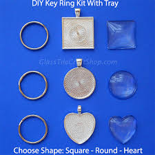 diy glass cabochon key ring kit with tray