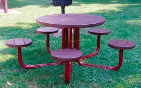 contemporary picnic table steel recycled plastic round 439