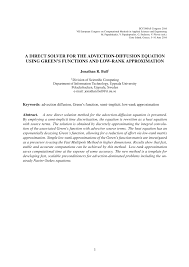a direct solver for the advection diffusion equation using green s functions and low rank approximation pdf available
