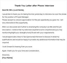Thank You Letter After Phone Interview Template