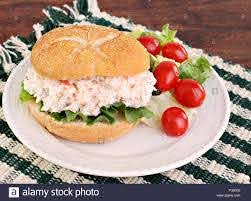 Healthy seafood salad sandwich on a ...