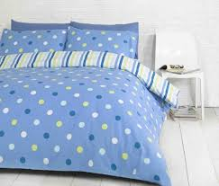 polka dot spots blue green white reversible stripes double duvet cover bed set