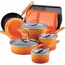 rachael ray pan set. Wonderful Ray Amazoncom Rachael Ray Hard Enamel Nonstick 12Piece Cookware Set  Orange Kitchen U0026 Dining For Pan H