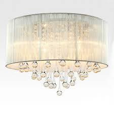 modern drum pendant light fabric shade rain drop crystal chandeliers 6 lights e14 e12 bulb crystal