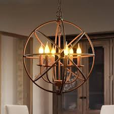 loft vintage rustic pendant light circular globe ball industrial wrought iron bird cage hanging lighting for restaurant bar dining room lamp hanging
