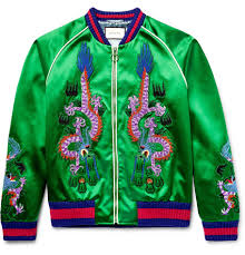gucci varsity jacket. gucci clothes for mens appliquéd silk-satin bomber jacket - green varsity a