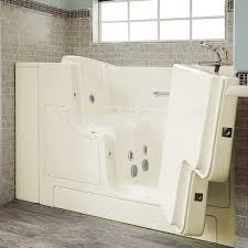 gelcoat premium series walk in bathtub with combination massage with tub faucet in linen