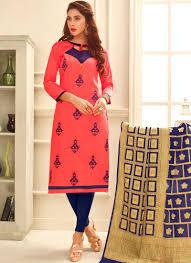 Cotton Churidar Dress Design Patterns Elegant Rose Pink Print Work Cotton Churidar Suit