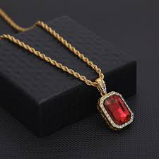mens mini ruby pendant necklace gold cuban link chain fashion hip hop necklaces jewelry for men