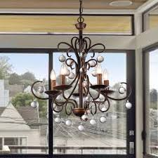 warehouse of tiffany grace crystal drop curved 5 light antique bronze chandelier