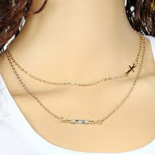 simple and fashionable cross pendant necklace handmade beaded imitated crystal double layer necklace gold one size