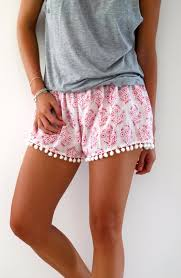 Womens Patterned Shorts Stunning Bright Pink Patterned Pom Pom Shorts 48s Inspired Shorts Etsy