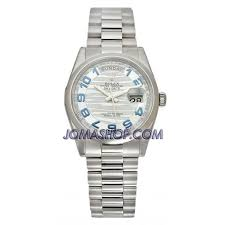 rolex day date ice blue wave dial platinum president automatic rolex day date ice blue wave dial platinum president automatic men s watch 118206blap