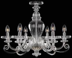 six light chrome clear glass up chandelier