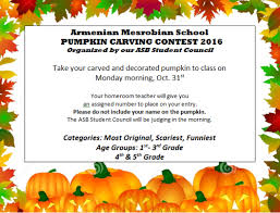 Pumpkin Carving Contest Flyers Asb Annual Pumpkin Carving Contest Armenian Mesrobian School