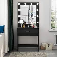 Tribesigns Vanity Set with Lighted Mirror, Makeup Vanity Dressing Table Dresser Desk for Bedroom, Black (10 Cool White LED Bulbs)