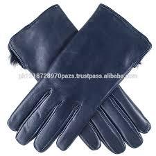 las navy blue rabbit fur lined leather gloves