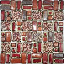 2019 hand craft red porcelain mosaic tiles backsplash kitchen wall red mosaic tile red glass mosaic