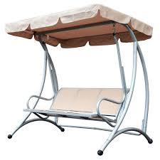 outside swing chair. Outsunny 3 Person Steel Outdoor Patio Porch Swing Chair With Adjustable Canopy Outside