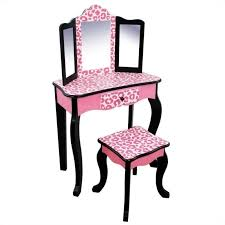Vanity table Silver Teamson Kids Vanity Table And Stool Set In Black And Pink Leopard Td11670a Cymax Teamson Kids Vanity Table And Stool Set In Black And Pink Leopard