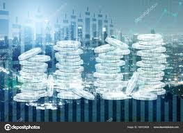 Silver Dollar Chart Abstract Silver Dollar Coin Piles On Night City And Business