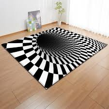 creative black and white type 3d printing carpet living room rug anti slip bathroom large carpet