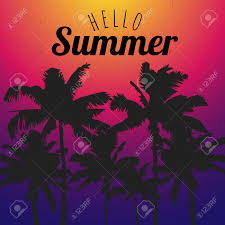 Postcard Designer Clothes Template Hello Summer With Black Palm Trees On Color Background
