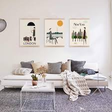 Paris Living Room Decor 2017 Mild Art Drawing London New York Paris Set Modern Abstract