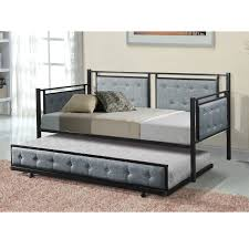 Home Source Alexandra Grey Fabric Tufted Daybed with Trundle, Black Metal Frame